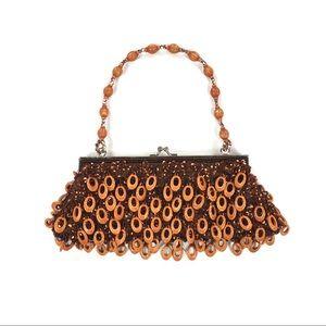 Vintage tangerine sequin beaded handbag purse